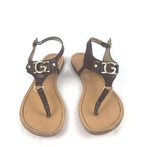 GUESS Brown Thong Sandals Size 7